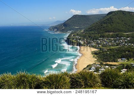 View Of The Coastline  Of Stanwell Park From Bald Hill Lookout, New South Wales, Australia