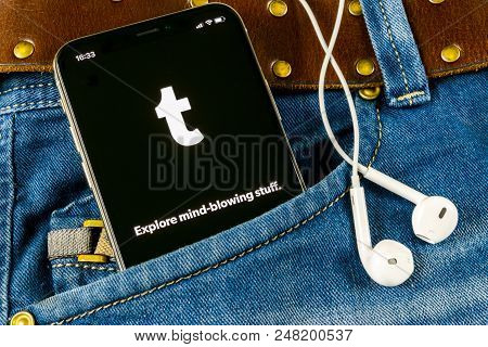 Sankt-petersburg, Russia, April 14, 2018: Tumblr Plus Application Icon On Apple Iphone X Smartphone