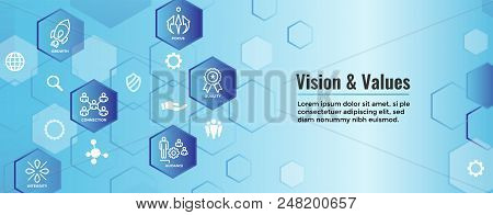 Vision & Values Web Header Banner With Connection, Growth, Focus, And Quality