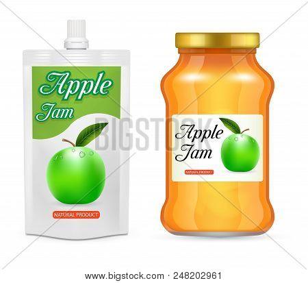 Apple Jam Packaging Mockup Set. Vector Realistic Illustration Of Glass Jar And Doypack Plastic Bag W