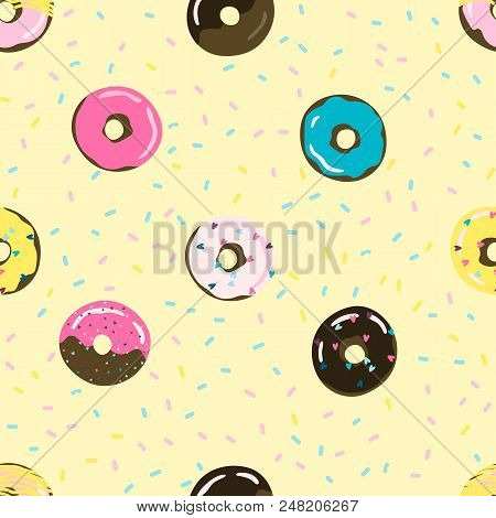 Sweet Summer Seamless Pattern With Donuts Vector Illustrations. Stock Vector