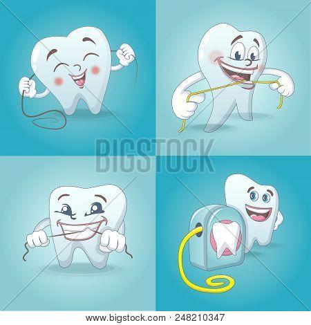 Floss Dental Brushing Detailed Teeth Icons Set. Cartoon Illustration Of 4 Floss Dental Brushing Teet