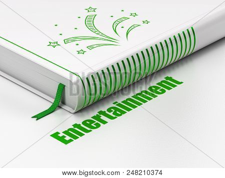 Entertainment, Concept: Closed Book With Green Fireworks Icon And Text Entertainment On Floor, White