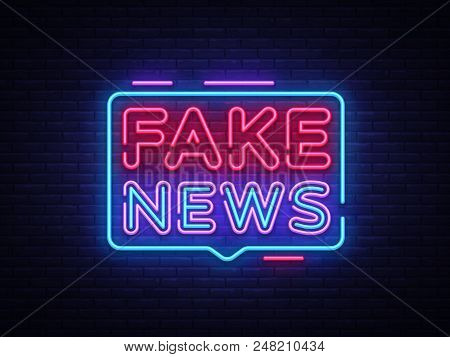 fake news neon sign vector photo free trial bigstock