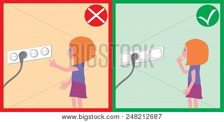 Children Safety - Electrical Safety. Families, Childrens, Safety, Flat Style, Cards, Colored.