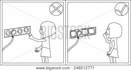 Children Safety - Electrical Safety. Families, Childrens, Safety, Flat Style, Cards, Coloring Outlin