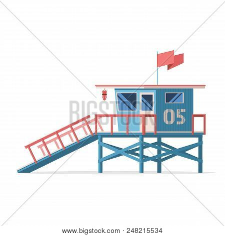 Lifeguard Tower On The Beach. Coast Guard Station In Modern Flat Design. Vector Stock Illustration I