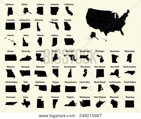 Outline Map Of The United States Of America. 50 States Of The Usa. Us Map With State Borders. Silhou