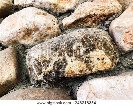 Stone Pebbles Texture Or Stone Pebbles Background. Stone Pebbles For Interior Exterior Decoration De