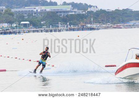 Kemer, Turkey - June 3, 2018 : Turkish Sportsman Wakes Himself On A Wakeboard, Turkey