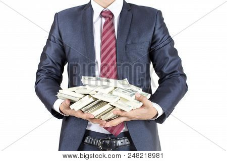 Man Received A Lot Of Money From Business, Isolated On White Background.