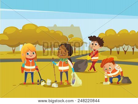 Multiracial Children Wearing Orange Vests Collect Rubbish For Recycling, Kids Gathering Plastic Bott
