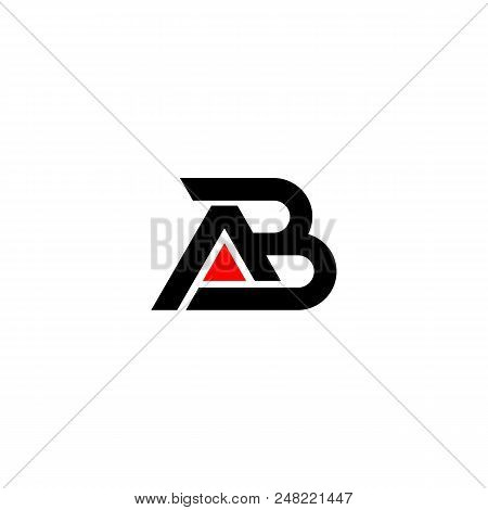 Creative Letter Ab Logo Design Black And Red Logo Elements. Simple Letter Ab Letter Logo,business Co