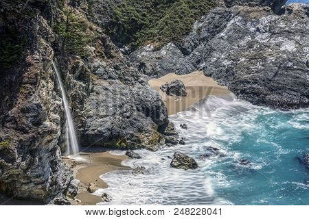 Idyllic Mcway Falls, Along The Big Sur Area Of Central California, Is Said To Be One Of Only Two Wat