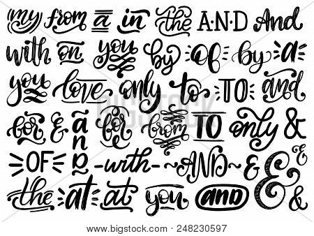 Handwritten Catchwords And Ampersands Vector Set. Calligraphy Collection Of Different Conjunctions,