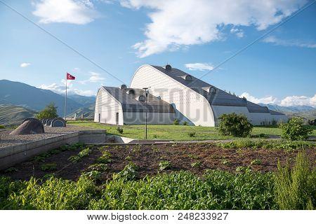 Bayburt, Turkey - June 19, 2018: Extraordinary Baksi Museum rising in Bayraktar village, where only 480 people living in 80 houses.