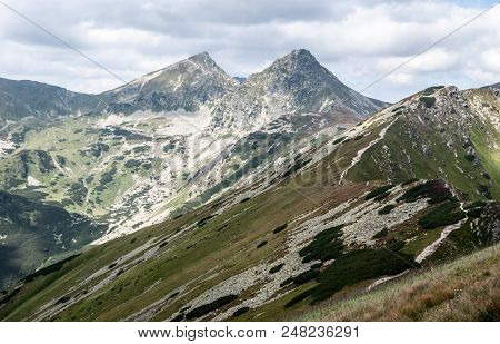 View To Ostry Rohac And Placlive Peaks On Rohace Mountain Group From Hiking Trail Bellow Hruby Vrch