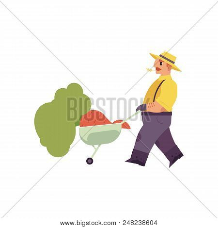 Flat Farmer Man In Professional Uniform - Rubber Boots, Overalls Pushing Cart With Hay. Agricultural