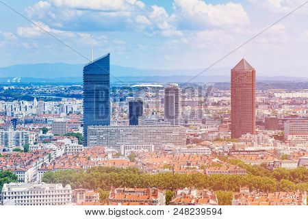 Aerial View Of La Part-dieu District And Its Skyscrapers, Lyon, France