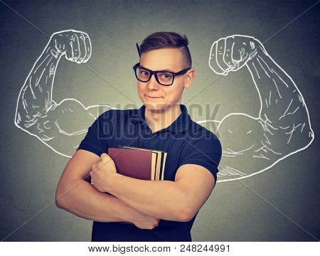 Strong Nerd Man With Books Feeling Powerful