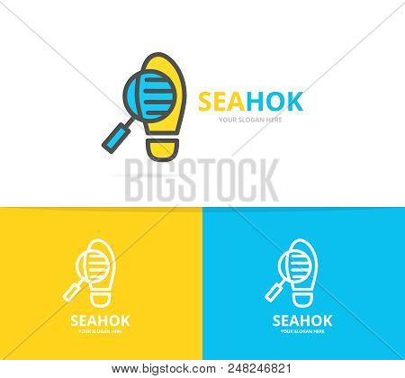 Simple Detective Loupe And Footprint Logo Design Template. Symbol And Sign Vector Illustration