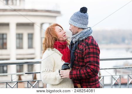 Couple Look Into Eyes Each Other. Happy Couple Looking Eyes To Eyes. Smiling Woman Looks To Happy Me