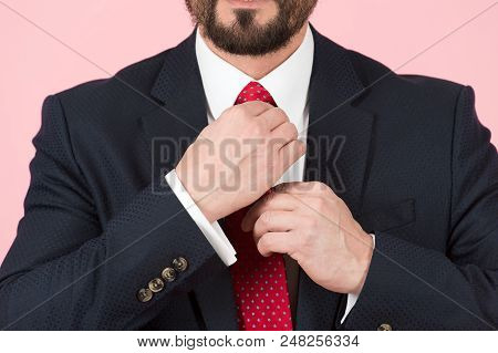 Close-up Of Hands Adjusting Red Tie With White Shirt. Businessman In Black Suit Ties A Red Tie. Clos
