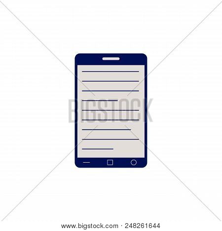 Black Smartphone Or Tablet With Opened Electronic Book For Online Reading And Education Concept Isol