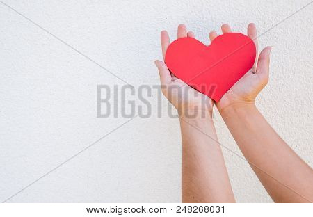 Hands Holds Paper Heart. Girl Or Young Woman Holds Paper Heart