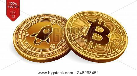Bitcoin. Stellar. 3d Isometric Physical Coins. Digital Currency. Cryptocurrency. Silver Coin With St