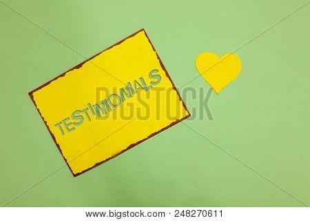 Writing Note Showing Testimonials. Business Photo Showcasing Customers Formal Endorsement Statement
