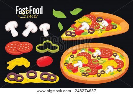 Pizza, Special Foods For Pizza. Pizza Dough, Pizza Ingredients. Pizza On Black Baskground. Pizza Iso
