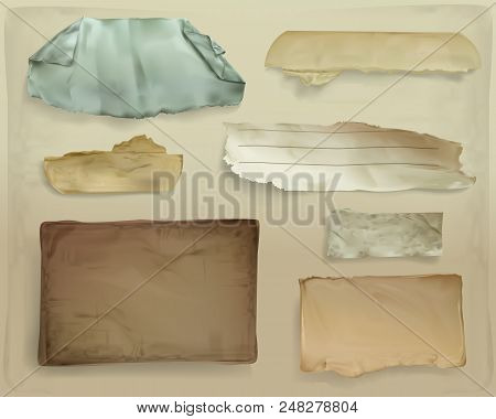Paper Scraps Vector Illustration Of Realistic Old Paper Ripped Sheets Or Ragged Page Shreds For Scra