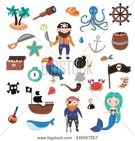Set Of Pirates Vector Cartoon Objects. Adventures And Pirate Party For Kindergarten. Children Advent