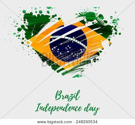 Brazil Independence Day Background. Abstract Grunge Brushed Watercolor Flag Of Brazil In Grunge Hear