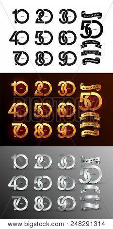 Set Of Anniversary Pictogram Icon. Flat Design. 10, 20, 30, 40, 50, 60, 70, 80, 90, Years Birthday L
