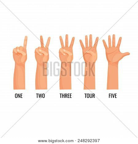 Counting Hands Show Figures, Count One, Two, Three, Four, Five Isolated. Hand Showing Fingers Icons