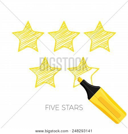 Five Stars Rating Poster Sketch Style. Ranking Of Best Items Golden Star From Clients And Customers.