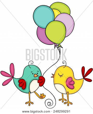 Scalable Vectorial Image Representing A Cute Couple Bird With Balloons, Illustration Isolated On Whi