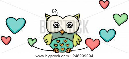 Scalable Vectorial Representing A Owl With Hearts, Illustration Isolated On White Background.