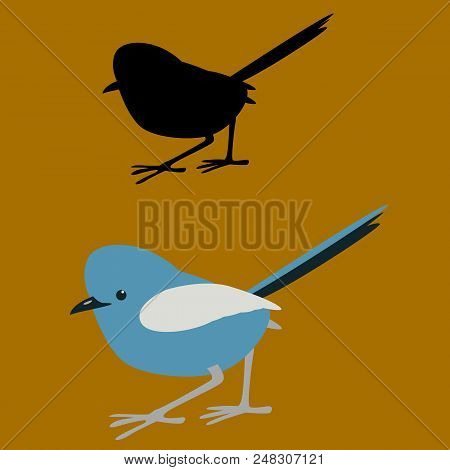 White - Winged Fairy Bird Vector Illustration Flat Style Black Silhouette