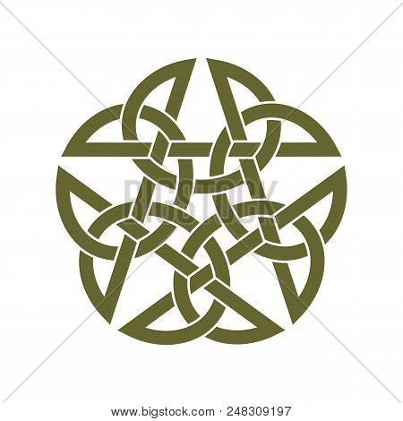 Inverted Celtic Star Knot Vector Illustration On White Background