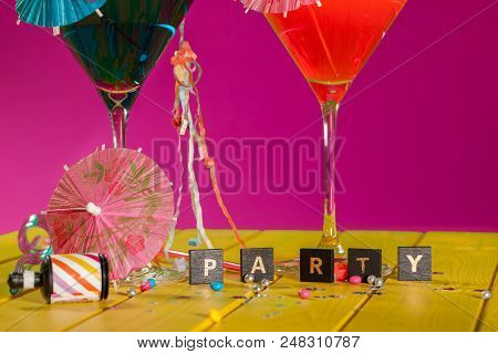 Cocktail Party. Celebration Fun In This Colorful Party Invitation Image. Word Spelling Party With Co