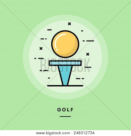 Golf, Flat Design Thin Line Banner, Usage For E-mail Newsletters, Web Banners, Headers, Blog Posts,
