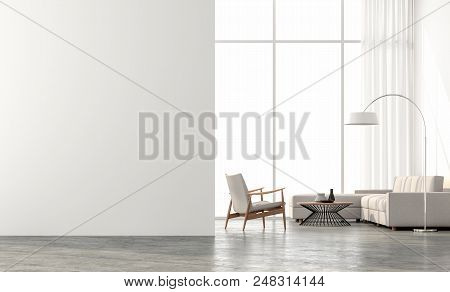 Minimal Style  Living Room 3d Render.there Are Concrete Floor,white Wall.finished With Beige Color F