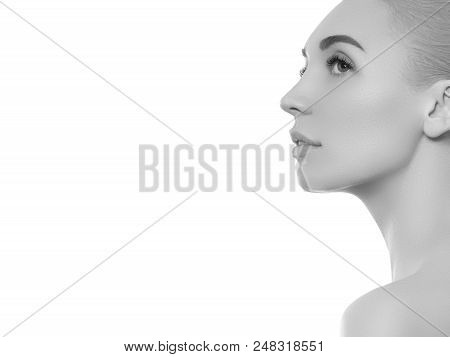 Black And White Beauty Woman Face Portrait. Beautiful Spa Model Girl With Perfect Fresh Clean Skin.