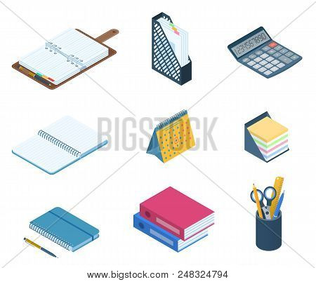 Flat Vector Isometric Illustration Of Office Desktop Workplace Supply Set. Vector Stationery: Busine