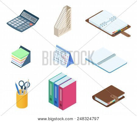 Flat Vector Isometric Illustration Of Office Desktop Workplace Stationery Set. Vector Supplies: Busi