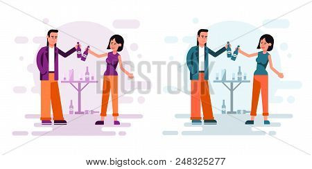 Couple Of Men And Women Drink Beer In A Friendly Atmosphere. Flat Cartoon Style