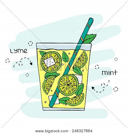 Hand-drawn Lemonade Illustration In A Glass With Segments Of A Lyme And Ice.